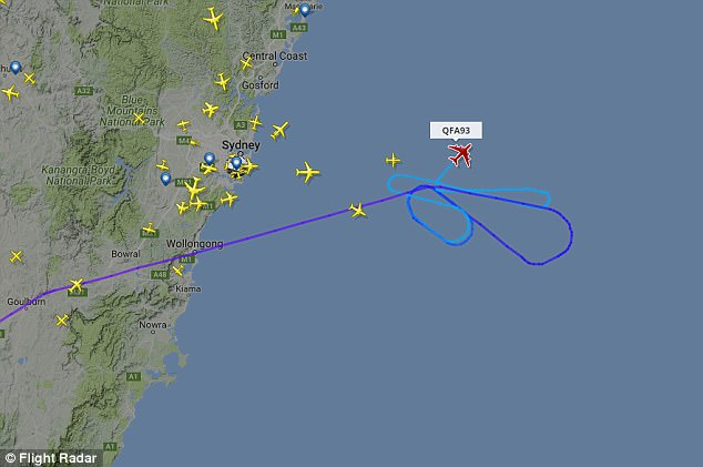 As the plane had only recently taken off, it circled around Sydney dumping fuel for some time (pictured is QF93's flight track)