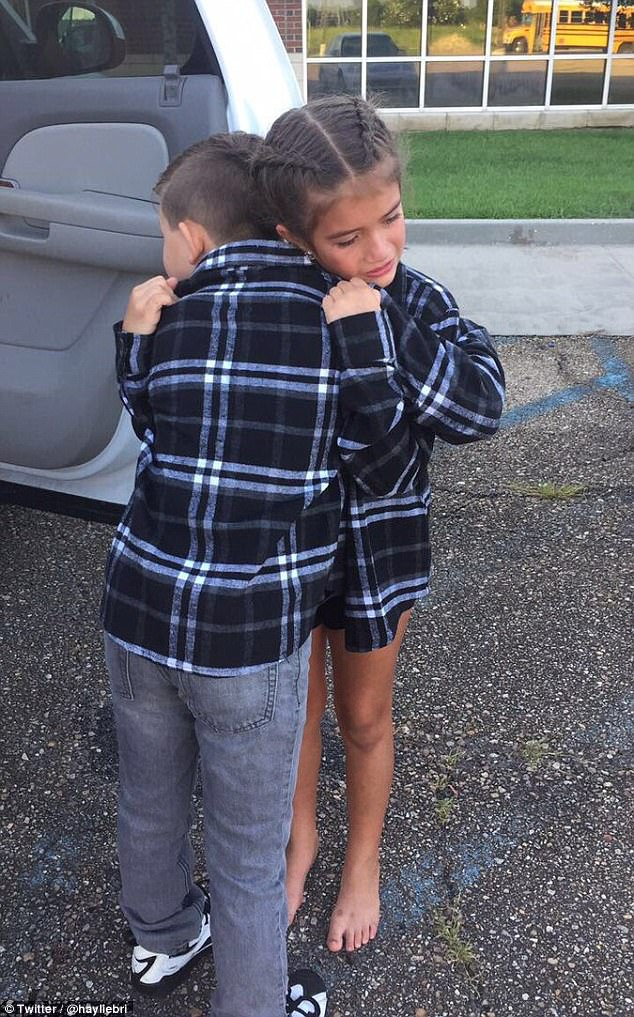A sad day: Merce Meynardie and his 'girlfriend' Mylee of Gonzales, Louisiana, have become a viral sensation with their heartbreaking goodbye