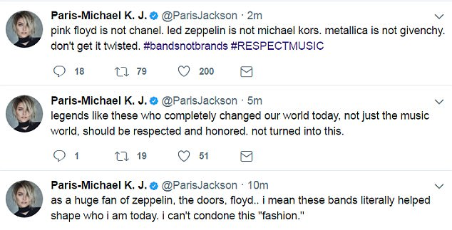 Chimed in:Paris Jackson, daughter of the late King Of Pop, also tweeted about the Kendall and Kylie shirts, saying music legends 'should be respected and honored. not turned into this.'