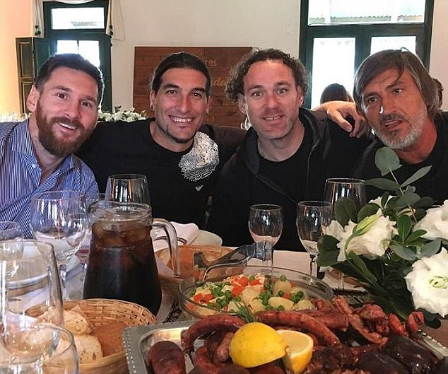 A source close to the Messi family told MailOnline that relations between his family and Antonella have been strained for nearly seven years. Pictured: Close friend Jose Pinto posted a photo on Instagram yesterday with the words: 'the gang back together'