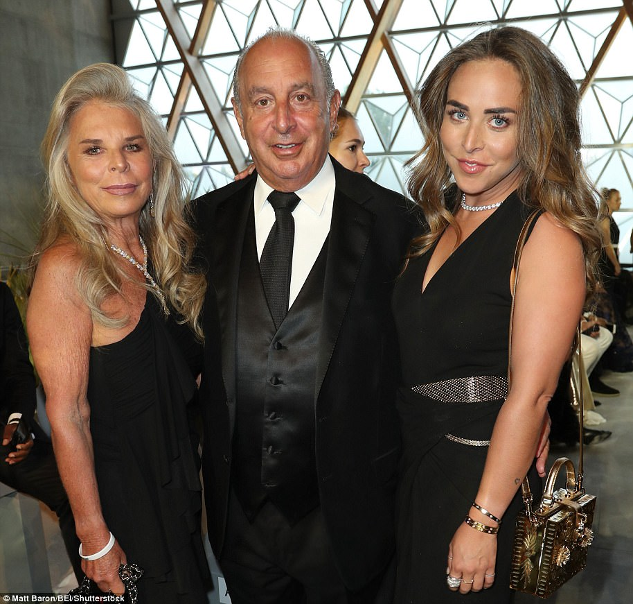 Powerful trio: Chloe has largely been laying low since her flamboyant father ignited outrage in the UK over his controversial offloading of iconic British store BHS (pictured with her mother Lady Cristina Green in May 2017)