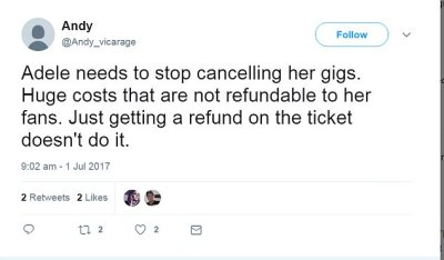 Andy wrote that refunding tickets was not enough as costs incurred by fans are not refundable