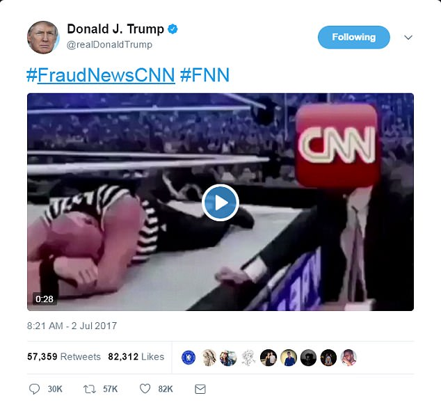 President Donald Trump tweeted an edited video clip of himself hitting Vince McMahon at WrestleMania 23, but the CNN logo was slapped over McMahon's face.