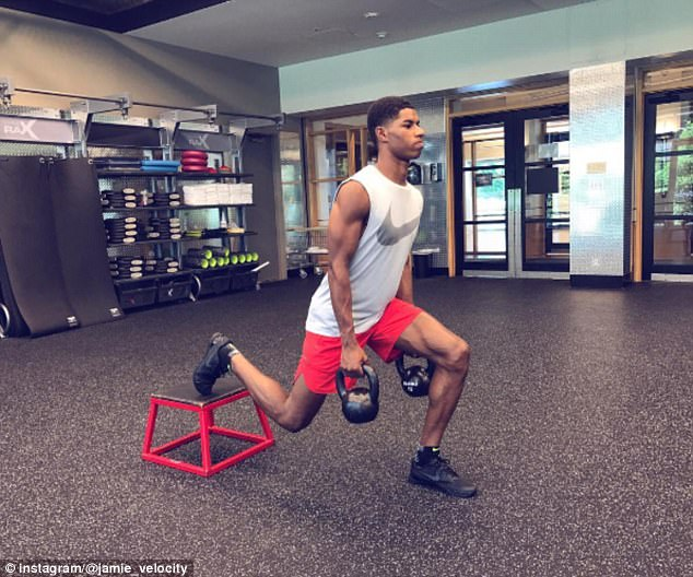Marcus Rashford has been putting his peers to shame by hitting the gym hard every day