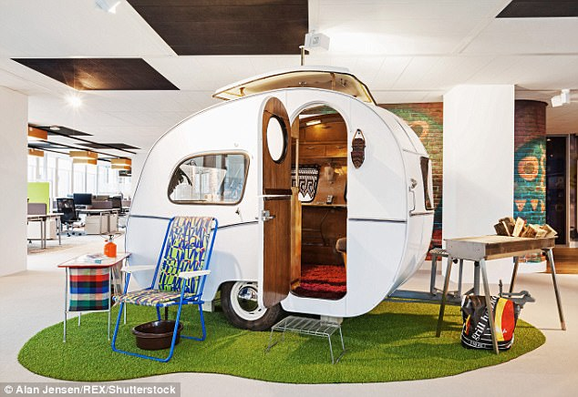 In Amsterdam, staff hold meetings in Sixties caravans (pictured above), with lawn chairs and fake BBQ grills; in Dublin, there's a putting green and jungle-style canopies on the roof.
