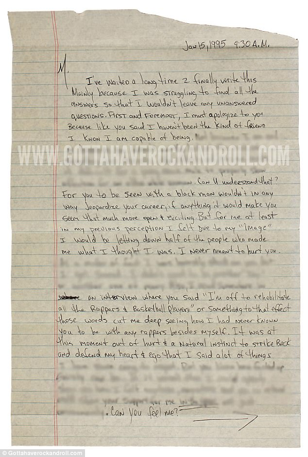 Handwritten note: By the time the letter was written in 1995,things had clearly taken a turn between the A-list duo
