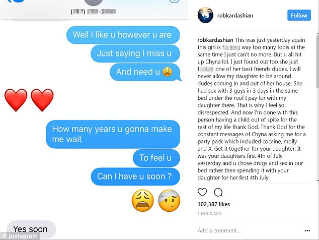 Post 15: Rob shared this text message conversation he says he had with Chyna on the Fourth of July