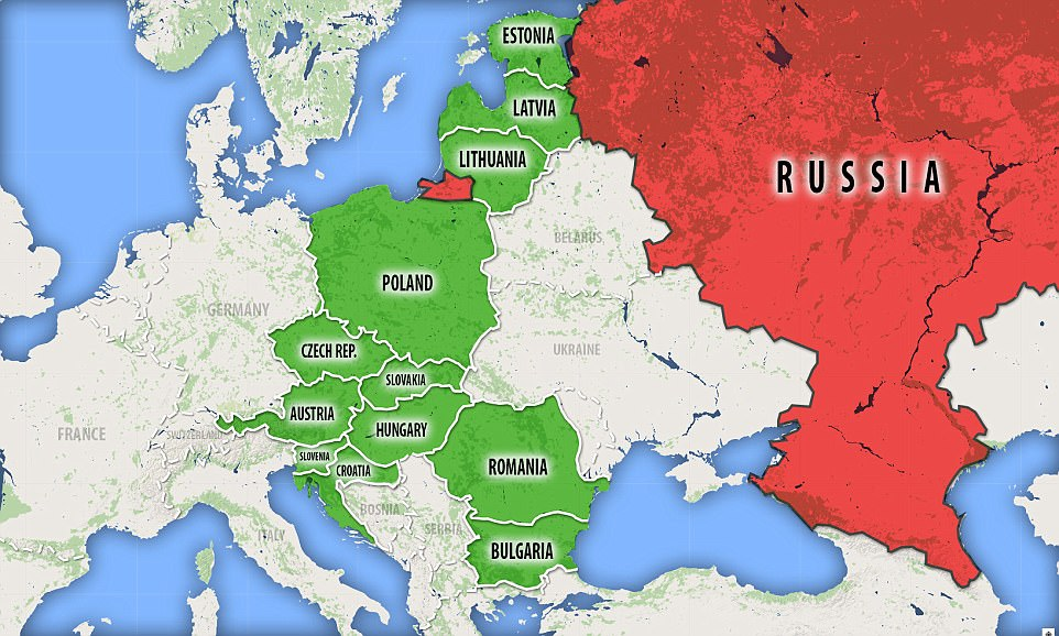 Poland is leading the charge for the Three Seas Initiative, a new trading bloc (in green) that is likely to dilute the power of Russia (in red). Russia's Kalinin Oblast (the small area in red) borders Poland, creating what could be a military tinder-box