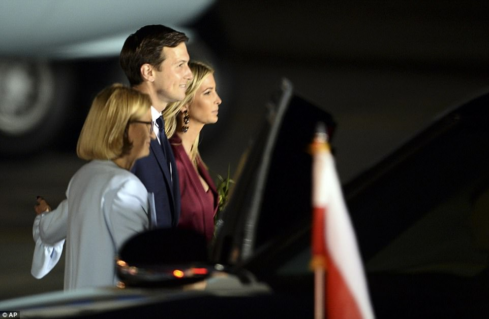 Ivanka Trump, right, and her husband Jared Kushner, senior advisor of President Donald Trump arrive to the military airport in Warsaw, Poland, Wednesday