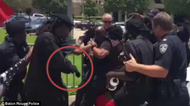 Baton Rouge police later issued a photograph which apparently showed a black panther holding a taser during the clashes