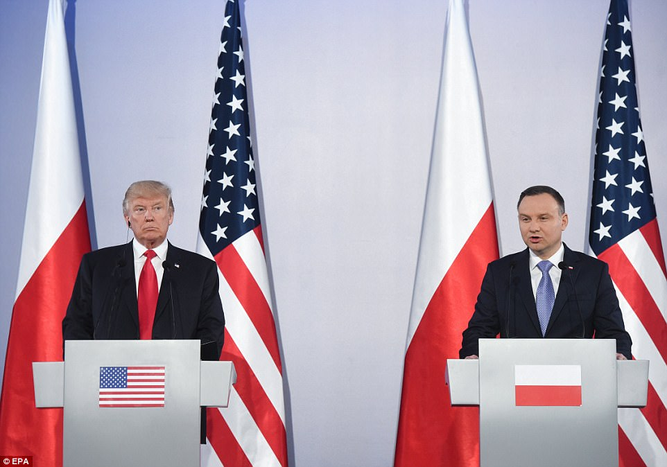 Trump held a joint press conference with Polish PresidentAndrzej Duda on Thursday after the pair had private talks
