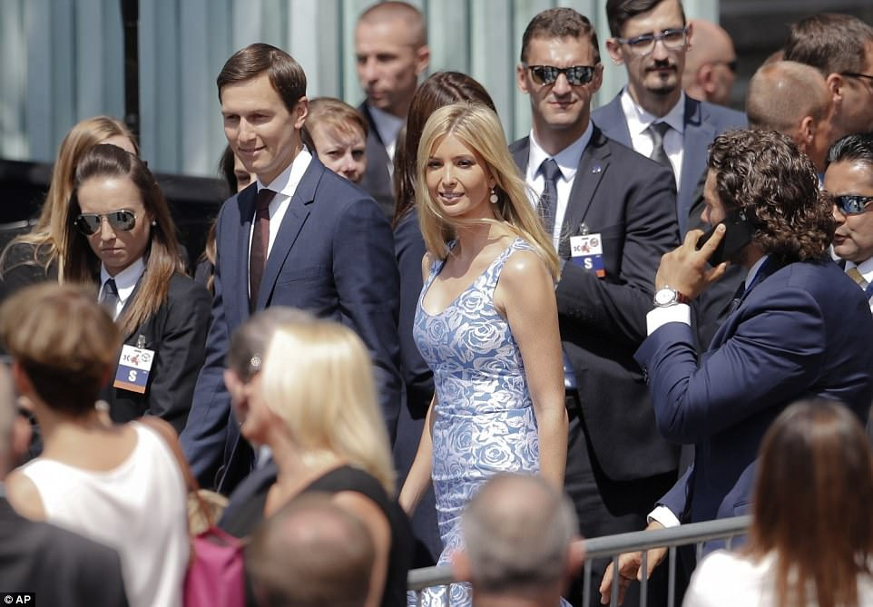 Ivanka Trump smiles as she arrives in Krasinski Square, in Warsaw, with her husband Jared Kushner, senior adviser of Trump