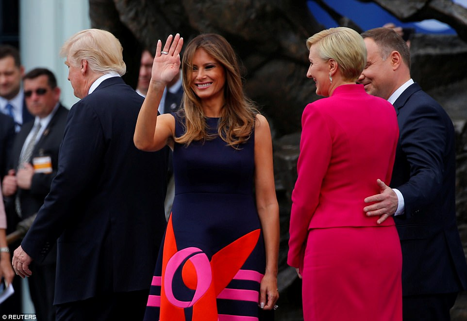 Melania Trump, who is taking a prominent role in her husband's key overseas trip, also saluted the Polish people and their 'beautiful country'