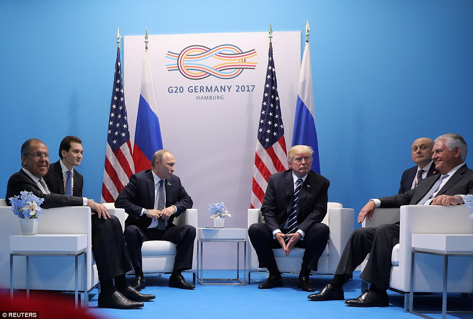 Just a few of us: The Russian delegation consisted simply of Putin, his foreign minister Sergey Lavrov, and their translator, while the U.S. side was President Trump, Secretary of State Rex Tillerson, and their translator
