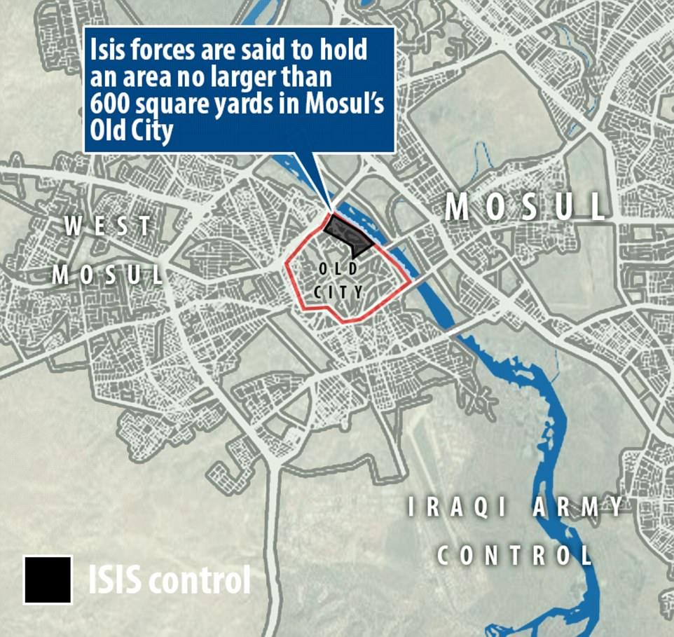 Las fuerzas de ISIS están sosteniendo apenas una pequeña área del territorio al lado del río Tigris, según comandantes en la tierra. La zona se cree que está al lado del río Tigris, que atraviesa el centro de la ciudad de los jihadis una vez reclamado como una fortaleza