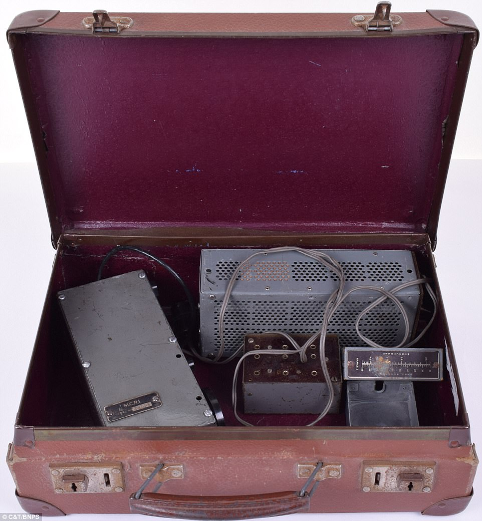 The 'biscuit tin' radio transmitter would have typically been kept inside a briefcase and would have been used by agents to receive messages