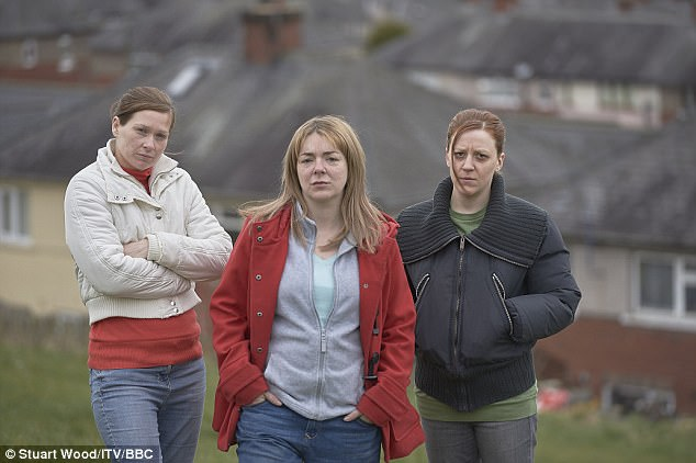 Her mother, Karen (played by Gemma Whelan, right), had to move after The Moorside (pictured) was shown on the BBC
