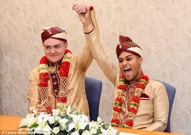 Two years later, Mr Choudhury, right, is believed to be the first Muslim man to have had a same-sex marriage in Britain and feels he is proof that it is okay to be both gay and a Muslim