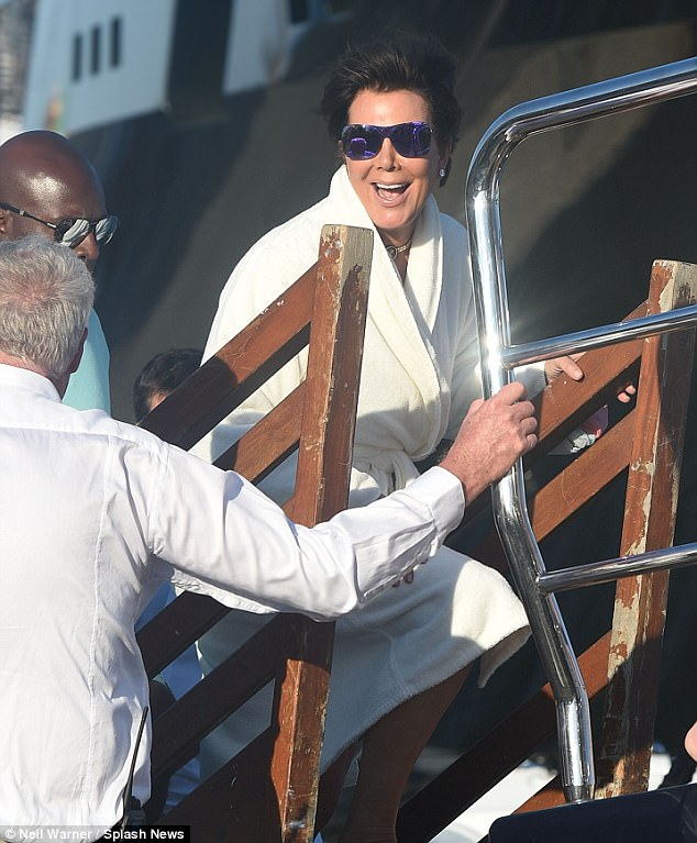 Kris Jenner Boards A St Tropez Yacht With Corey Gamble Daily Mail Online