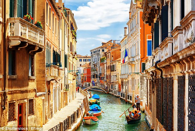 La bella Italia: Venice (pictured) is an especially popular destination on the app, with flights available from Austria and Czech Republic starting at just £82