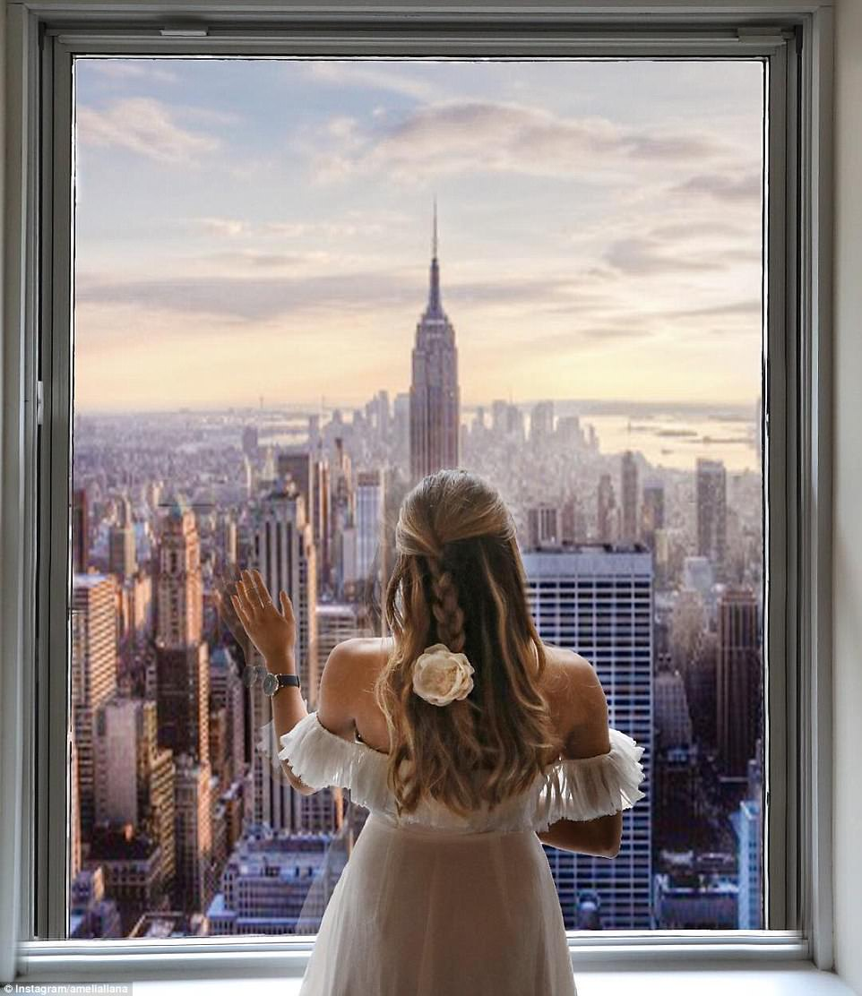 Amelia Liana posted a picture of herself purportedly from the top of the Rockerfeller Center in New York in May, but her followers quickly spotted that the four-year-old Freedom Tower was missing from the skyline