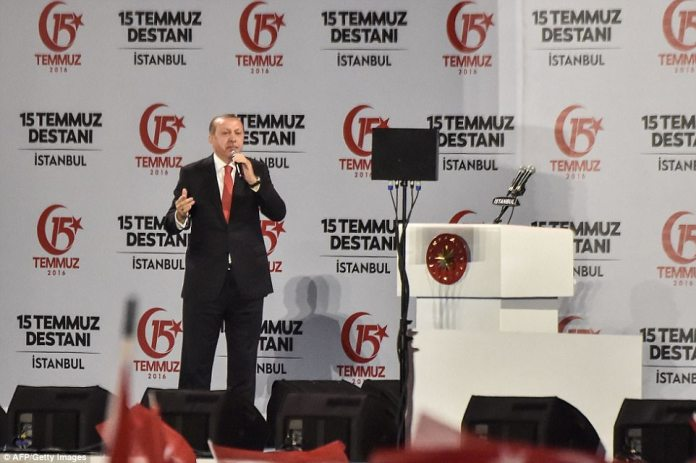 Erdogan told the crowd that he wants hundreds of people who are on trial for plotting last year's failed coup to appear in court wearing the same type of outfit - similar to those that were worn by detainees at Guantanamo Bay