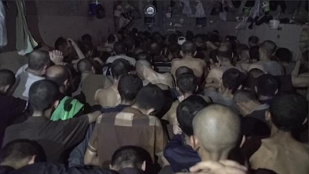 The Iraqi officer who oversees the make-shift jail (pictured) said it currently holds some 370 prisoners