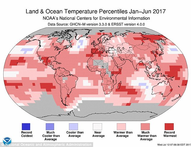 A map showing global temperature percentiles from January to June 2017. Areas of deep red show pockets of record warming, while blue shows areas that have been cooler than average