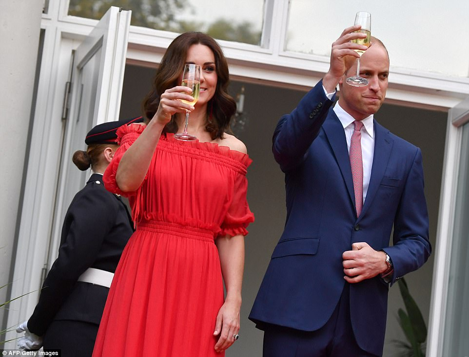 The couple make a toast to their hosts. Tomorrow, the Duke and Duchess renew their friendly sporting rivalry, that seems to play a part in most of their trips, when they visit the picturesque Germany city of Heidelberg, twinned with Cambridge