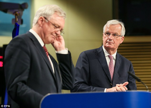 The British side is understood to believe that progress has been made during four days of talks, despite bleating from EU chief negotiator Michel Barnier (pictured right with David Davis in Brussels today) about a lack of 'clarity' on the UK's position