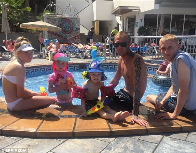 Mr Stretton-Mellor (second from right) with Shelby-Ann Stretton-Mellor, Skyla Stretton-Mellor, Kenzie Millerchip and Andrew Bostock after they eventually arrived in Gran Canaria
