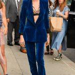 Cara Delevingne In Plunging Velvet Trouser Suit In NYC