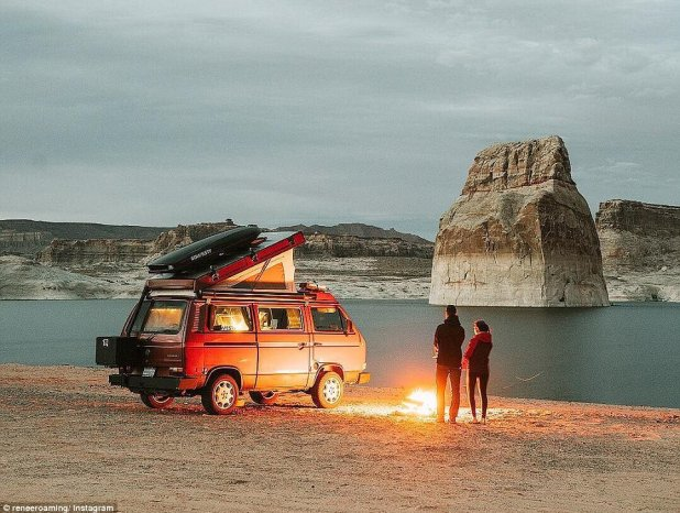 Lake Powell: The talented blogger, who is currently living in a van with her beau and on a mission to visit all 59 US national parks, boasts more than 220,000 followers on Instagram for her idyllic and perfectly framed wanderlust snaps