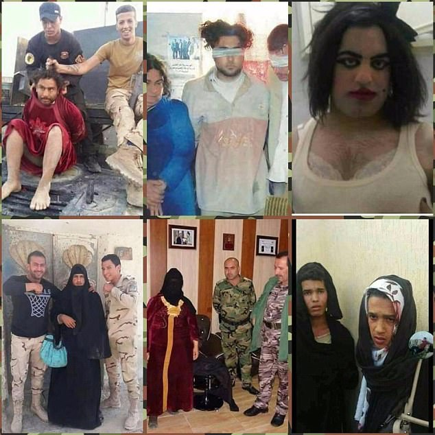 Other images shared by the Iraqi army show the hapless attempts by men who are trying to get out of the city to look like women, including wearing padded bras