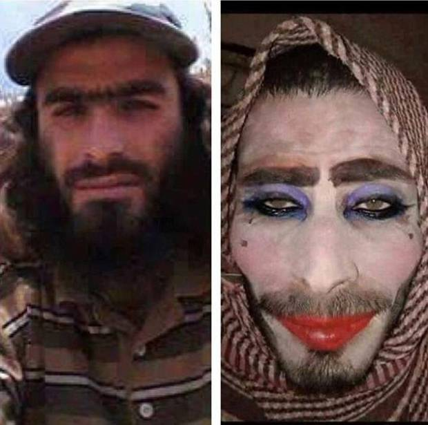 In one image, a fighter forgot that not shaving his facial hair off would be a problem as he attempted to dress as a woman to flee