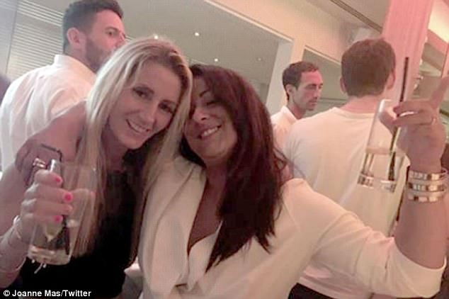 Out for drinks:Joanne Mas appeared to have a lot to celebrate as she enjoyed a night on the town with friends last month