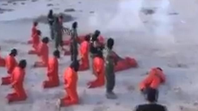 The first row of prisoners are taken out by the first line of executioners in the video dated July 17