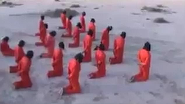 Eighteen blindfolded prisoners in Guantanamo Bay-style jumpsuits line up to face their deaths