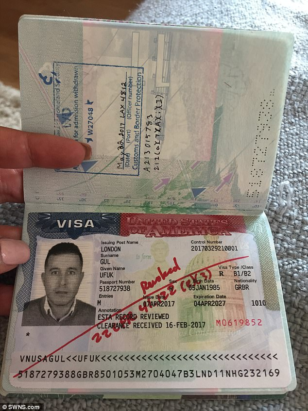 Mr Gul, an estate agent, holds a British passport but his business partner attempted to apply for eight Estas, American tourist visas, for his stag-do but all were rejected