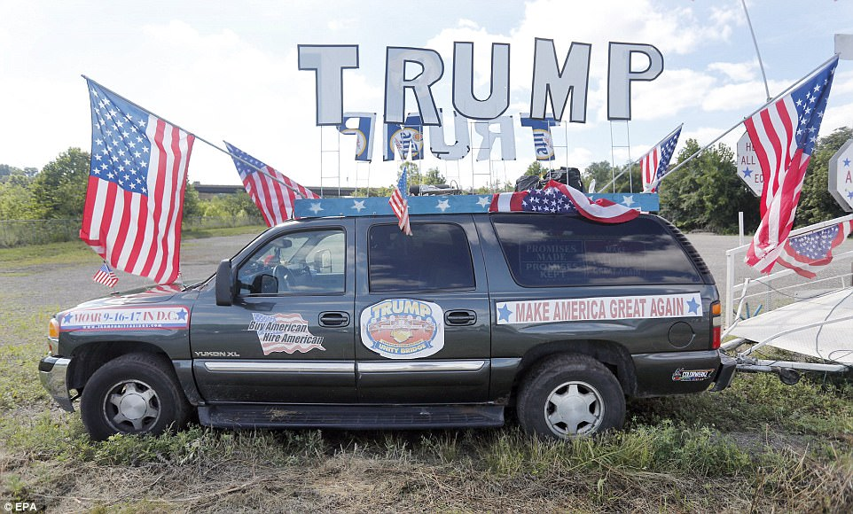 One MAGA-fan of the president's decked out his SUV in American flags and every Trump-themed sticker or sign he could find ahead of Tuesday's rally