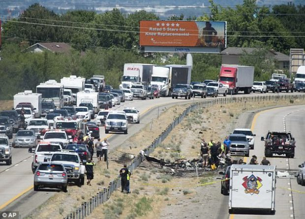Four people have been killed after a small plane crashed on a highway in northern Utah