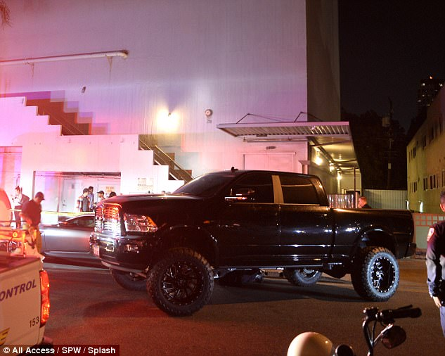 Huge: Bieber's truck seen here outside the church following the incident