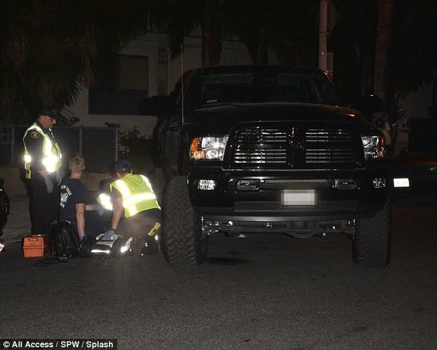 Injured: Medics were seen treating the victim