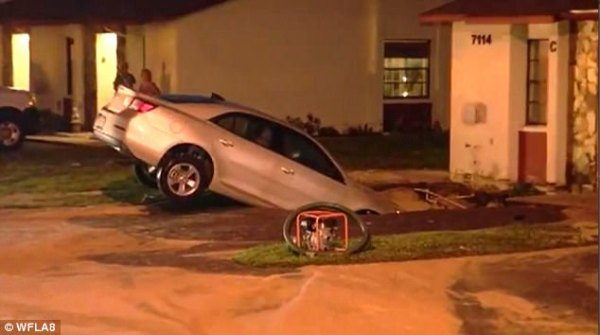 Florida woman escapes as car falls into sinkhole | Daily ...