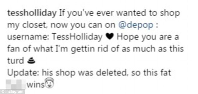 Hitting out: Tess later revealed that the user in question had his store on the site deleted