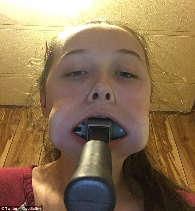 Kaley posted the picture on Twitter with the caption: 'how do u tell ur mom that u got a hammer stuck in ur mouth'