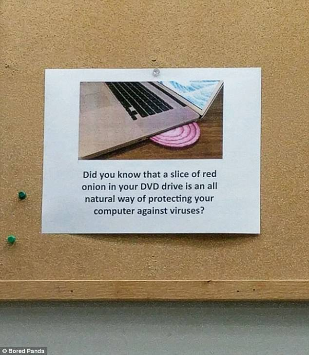 Let's hope that employees at this office aren't gullible when they catch a glimpse of this sign