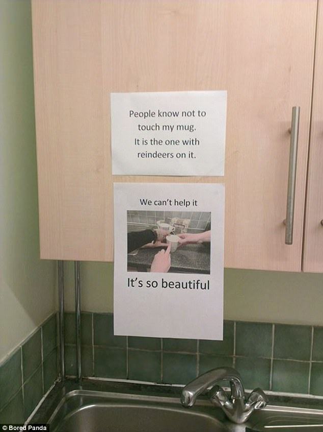 People in this office kitchen couldn't help but mock their fellow workers stern warning