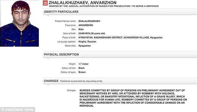 An Interpol warrant for GTA gang member Anvarzhon Zhalalkuzhaev shows he is wanted for murder, among other charges