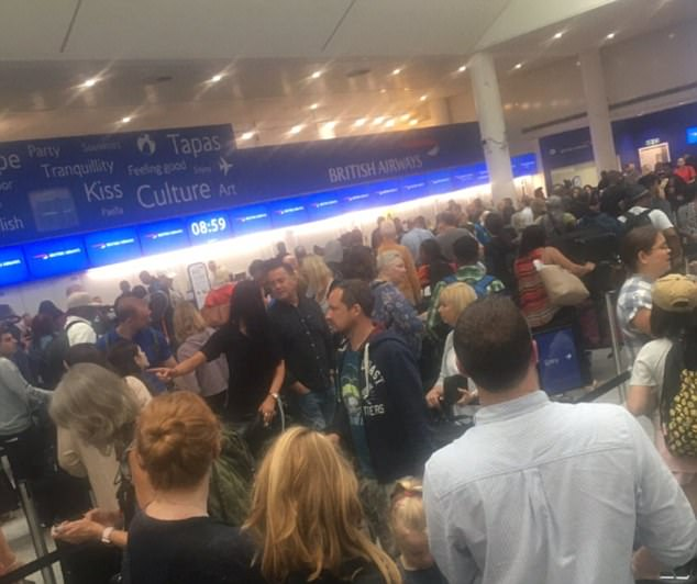 Pictures emerged of queues up to eight rows deep at the check-in desk of Gatwick Airport